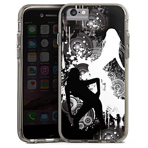 Apple iPhone 6 Plus Bumper Hülle Bumper Case Glitzer Hülle Kreise Silhouette Woman Bumper Case transparent grau