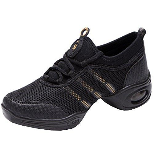 Oasap Women's Fashion Lace up Mesh Dance Sneakers Black&gold