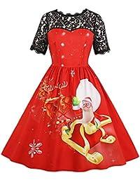 0d028f2533fc7 RoseGal Round Collar Short Sleeve Spliced Lace Christmas Print A-line Women  Dress