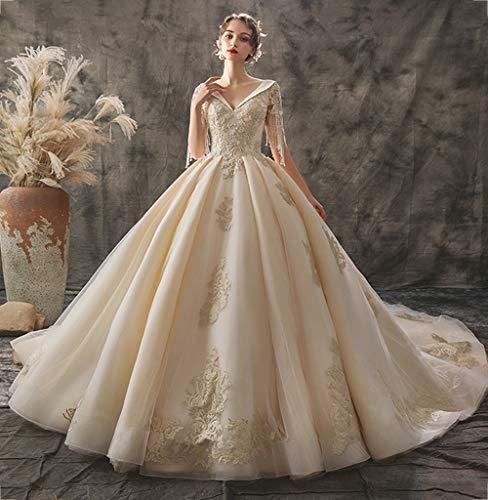 FAPROL Damen Elfenbein Brautkleider Klassische Palace Kleider Spitze Applique Perlen V-Ausschnitt Abendkleid Bodenlangen 8 US -