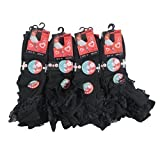 IMTD 12pairs Cute Girls Cotton Blend Frilly Lace Socks Ballet Dance Wedding Bridesmaid School Socks Black UK Shoe Size 12-3