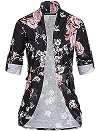 d6747c8e06ef50 violet Fashion Damen Turn- up Cardigan Offener Schnitt Blumen Muster,  Schwarz Rosa