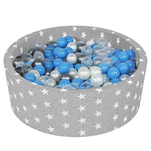 Vivisence Piscina De Bolas Estrellas para Niños + 200 Bolas Hecho En La UE 90X30, Gris Claro: Transparente/Plateado/Perla/Azul Celeste,90/30