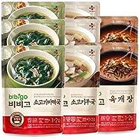 Bibigo sopa coreana popular paquete de 8 (500g x 8) - sopa de verduras y carne picante (Yukgaejang) sopa de algas de carne de vaca 2pcs + (Miyeokguk) sopa de carne y rábano 3pcs + (Soegogimuguk) 3pcs