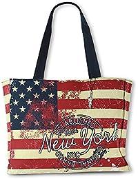 827f8326d6640 Robin Ruth USA Flagge New York Shopper Schultertasche mehrfarbig Canvas  OTG203F
