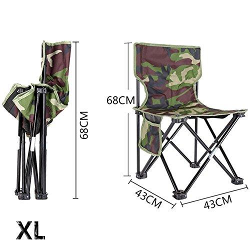 PROKTH Outdoor Chaise Pliante Chaise de pêche Chaise de Camping Chaise de Plage Chaise de Pique-Nique BBQ Camouflage Tabouret Pliable - XL