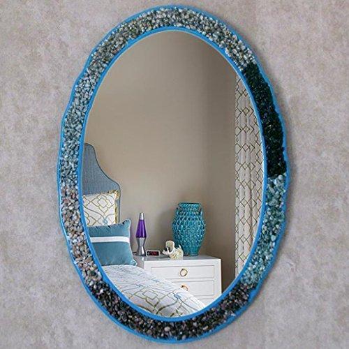 Mirror Schutzbrille Blue (Health UK Mirror- Mittelmeer-Badezimmer-Spiegel Europäische Stein-Aufkleber-Wand-Schutzbrillen Waschbecken-Spiegel-Verkleidung Eingangspiegel-Toiletten-Harz-Schönheits-ovale wasserdichtes Welcome ( Farbe : Blau ))