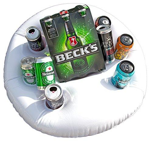 Preisvergleich Produktbild Aufblasbarer Getränkehalter Bierkühler für Pool, See und Meer weiß 60cm Durchmesser Getränke-Insel Bier-Boot Party-Zubehör Schwimmreifen Luftmadratze Schlauch-Boot