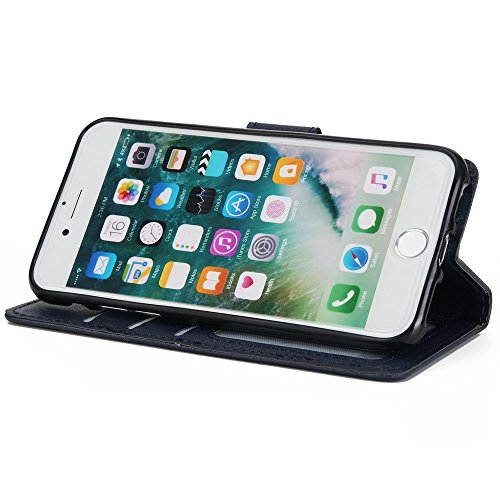 JIALUN-Telefon Fall Horizontale Flip Stand Case Cover mit Cash & Card Slots & Lanyard & Soft TPU Interio Rückseitige Abdeckung für für iPhone 7 ( Color : White ) Darkblue