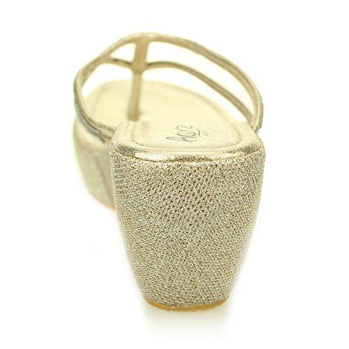 Femmes dames soir enfiler casual compensé talon diamante sandale chaussures taille (Noir, Or, Argent) Or