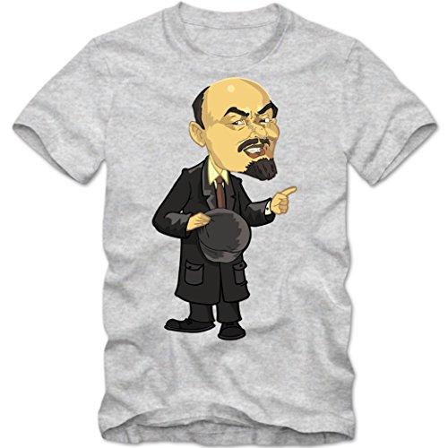 Wladimir Lenin Comic T-Shirt | Leninismus |Marxismus Shirt | Kommunismus | Tee © Shirt Happenz graumeliert (grey melange) 01