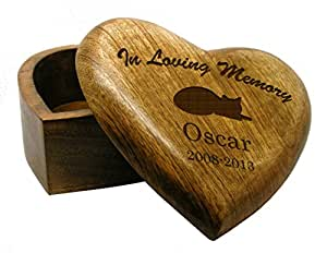 In Loving Memory SMALL Heart Wooden Cat Pet Urn Cremation Ashes Pet Box  Casket Personalised