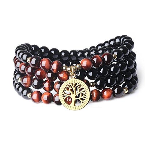Coai bracciale collana 108 perle mala in onice e occhio di tigre rosso con amuleto albero della vita in acciaio inox, bracciale multistrato unisex in pietre naturali benefiche
