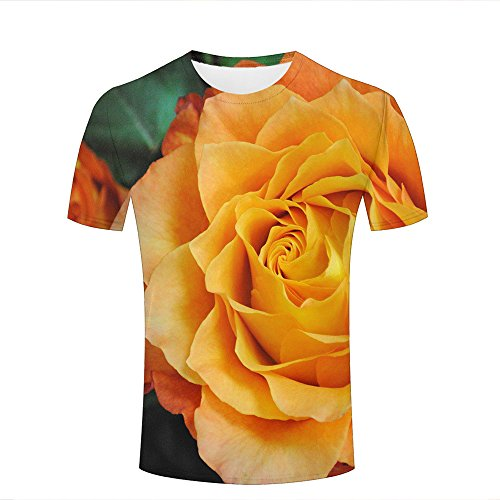 Fashion Womens Mens 3d Printed Pretty orange roses Graphic Short Sleeve Tee  Tops Couple T- e52143d041