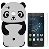 Hcheg 3D Silikon Schutzhülle Tasche für Huawei P9 lite Hülle Panda Design schwarz/weiß Case Cover+ 1X Nano-proof film de protection écran
