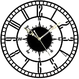 The Next Decor Roman Modern Round Metal with Silent Machine Wall Clock for Wall Decor (Matte Black, 15 Inch)