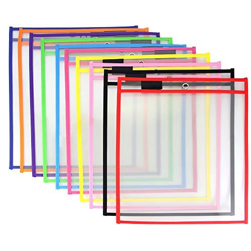 HTINAC trocken abwischbare Taschen, 10 Stück, wiederverwendbare Shop-Ticket-Halter für Klassenzimmer Organisation Zuhause Schule Zubehör (25,65 x 34,8 cm, Neonfarben)