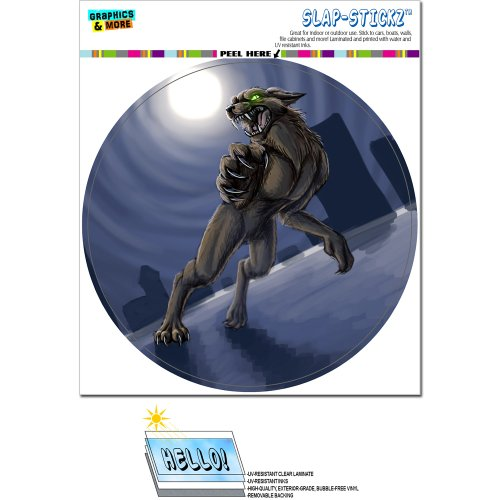 Autoaufkleber, Motiv: Werwolf/ Worgen mit Vollmond, Halloween, gruseliger, -