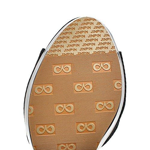 VogueZone009 Donna Puro Tacco Alto Punta Aperta Tessuto Lucido Fibbia Heeled-Sandals Nero