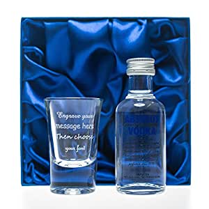 Engraved 1oz Shot Glass & Absolut Vodka Blue in Silk Gift Box For 18th/21st/30th/40th/50th Birthday/Bridesmaid/Best Man/Usher/Wedding Gift