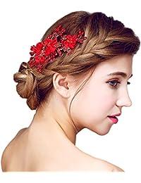 YAZILIND tocado belleza de la mujer nupcial de la boda broche de pelo de fiesta rojo