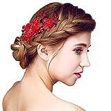 YAZILIND tocado belleza de la mujer nupcial de la boda clip de pelo pasador partido rojo perla flores de aleaci¨®n de pelo accesorios