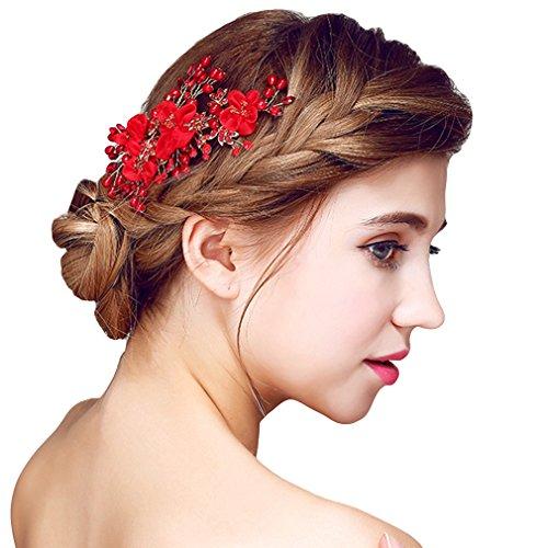 YAZILIND delicadas de la mujer de la boda tocado de novia broche de pelo para el partido rojo perla flores de aleación de pelo accesorios