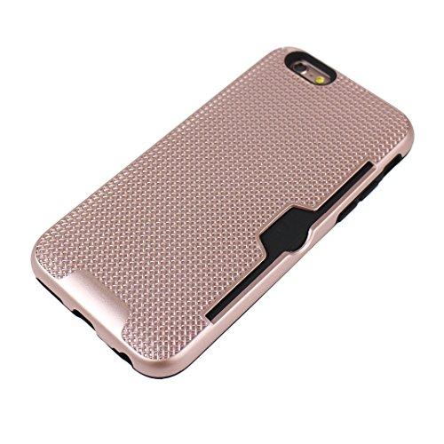 iPhone 6S Plus Hartschale, iPhone 6 Plus Hartschale, iPhone 6S Plus Full Body Case, iPhone 6 Plus 3 in 1 Hülle, Moon mood® 3 in 1 Anti-Fingerprint Kratzfeste Kunststoff Harte Rückseite Case Bumper Sch A Rosé gold