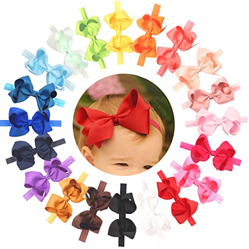 Baby Girls Toddler Hair Bows Headbands Large Pack of 20 (Soft Elastic Stretchy Hair bands)