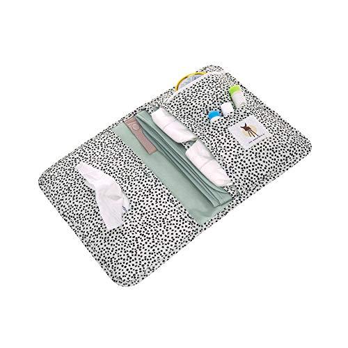 LÄSSIG Baby Windeltasche mit Wickelunterlage für unterwegs/Changing Pouch Dotted offwhite, weiß gepunktet