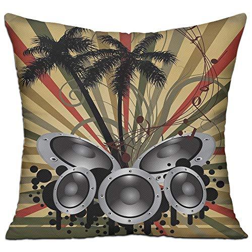 tgyew Modern Palm Trees Striped Ombre Backdrop Music Loudspeaker Art Print Full Red Tan Hunter Green Black Grey Sofa Decor Throw Pillow Cover 18