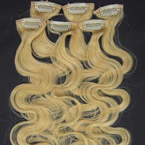 100% cheveux remy Lot de 6 50,8 cm Eau de Javel blond (# 613) vague cheveux clip dans Extension de cheveux humains Poids : 36 G