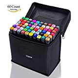 Best Art Markers - 60 Colors Dual Tip Twin Marker Pens Set Review