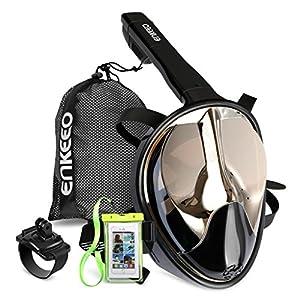 Enkeeo - UV 400 Máscara de Buceo para Snorkel con 180° Vista Panorámica, Estanca y Antiniebla (Caso de Telefono Impermeable y Pulsera Compatible con GoPro) (Negro / Plata - L/XL)