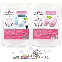 Preparación Algodón de azúcar azul y rosa