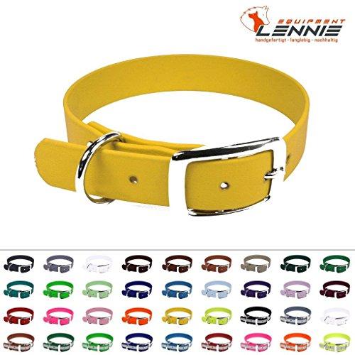 LENNIE BioThane Halsband, Dornschnalle, 19 mm breit, Größe 34-40 cm, Gelb, Aufdruck möglich