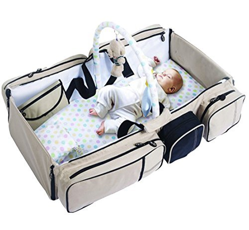 Angel Perfect 4 in 1 Portable Newborn Travel Bassinet Playpen / Baby Bed, Diaper Bag Organizer, Baby Changing Station Pad and Baby Play Gym