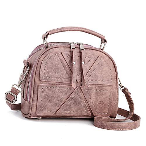 NANIH Home Frauen Mädchen Doppel Reißverschluss Crossbody Umhängetasche Weibliche Messenger PU Leder Patchwork Tote Handtasche Geldbörse (Color : Pink) -