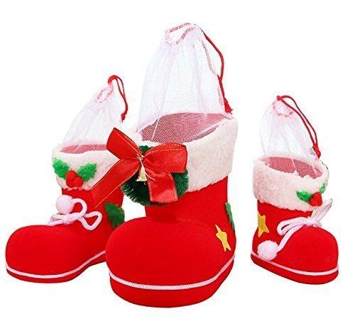 UChic 3 STÜCKE Unterschiedliche Größe Weihnachten Stiefel Beflockung Stiefel Socken Kreative Geschenkbox Süßigkeiten Dekorative Rote Stiefel Weihnachtsschmuck (Dekorativen Weihnachtsschmuck)