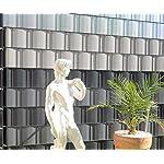 Zaun-Nagel Sichtschutzstreifen Windschutz PVC für Doppelstabzaun Balkon Garten 35 m Silbergrau inkl. 12 Clips