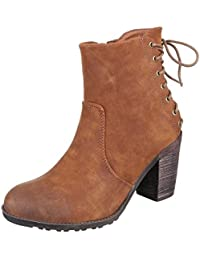 Damen Stiefelette/Plateausohle/Hoher Blockabsatz/Halbhohe Stiefel/Damenschuhe/Camel/Braun, EU 38