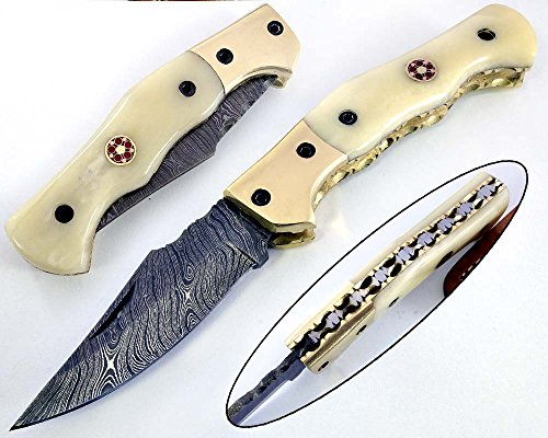 Dessi Handmade damascus steel blade folding knife. Blade length under 3 inches. Legal to carry.1681