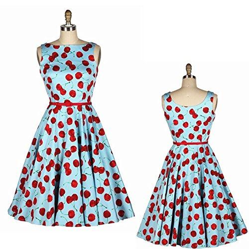 50er Jahre Rockabilly Kleid Vintage Retro Kirschen - Cherry Hellblau