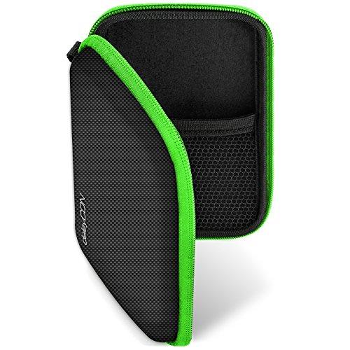 deleyCON Navi Tasche Navi Case Tasche für Navigationsgeräte - 4,3 Zoll & 5 Zoll (14,6x9,3x3,4cm) - Robust Stoßsicher 2 Innenfächer - Schwarz Grün