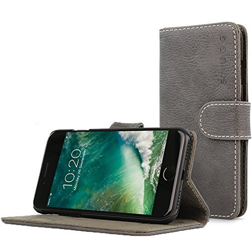 Snugg iPhone 7 and 8 Hülle, Apple iPhone 7 and 8 Klappetui Flip Cover Tasche Leder [Kartenfächer] Schutzhülle Lederbrieftasche Executive Design - Shark Skin Grey, Legacy Range