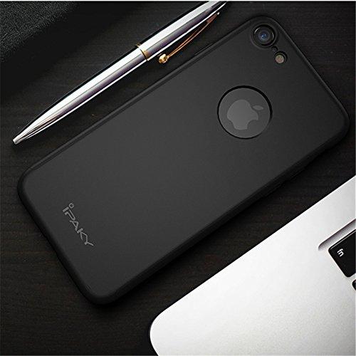 Yinano® iPhone 7 Plus Caso,Full Body Ultra Sottile PC Difficile Cover Case Vetro Temperato Proteggi Schermo 3 in 1 Design Front custodia&Indietro Caso&Vetro Film Lusso Protezione Completa (iPhone7plus nero