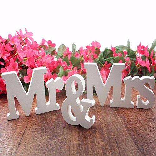 Moresave Mr & Mrs Holzbuchstaben Hochzeit Dekoration Geschenk 1 Set Weiß (Bewegtes Mit Ton Bild)