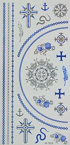 GRASHINE bleu et argent métallisé et faux tatouages chaîne de bijoux temporaire réaliste, roses, croix, et Spear