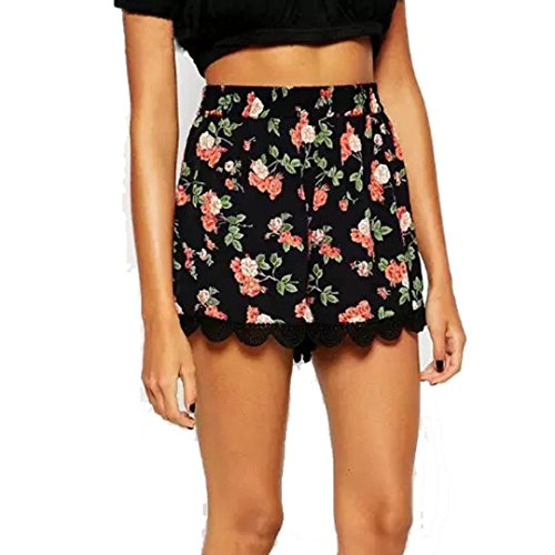 Short Pants,Ba Zha Women Floral Printing High Waist Lace Shorts Summer Casual Short Pants Women Summer Shorts Lace Embroidery Bohemian Casual High Waist Floral Printed Holiday Beach Shorts