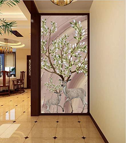 WPCHOU 3D Wallpaper Geprägte Wandbild Nordic Stereo Deer Floral Kulisse Wohnzimmer Schlafzimmer TV Wandbild Tapete für Wände 3D -